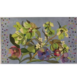 Ann Wheat Pace Floral w/periwinkle background<br />