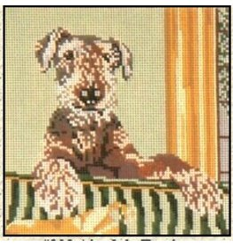 Needle Crossing Airdale Terrier<br />7&quot; x 7&quot;