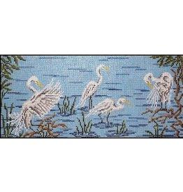 Needle Crossing Egrets in Water<br />13.75&quot; x 6&quot;