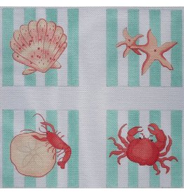 Kate Dickerson Shells & Crustaceans Coasters w/tourquoise & white stripes