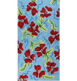 Elizabeth Turner Kate Purse - Red Flowers w/blue background<br />