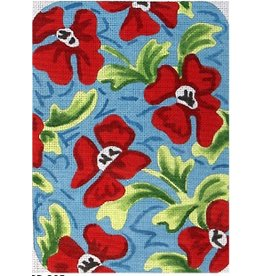 Elizabeth Turner Petite Clutch - Red w/Blue Flowers - Frton, Back & Gusset