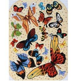 Elizabeth Turner Petite Clutch - Butterflies w/beige backround - Front, Back & Gusset