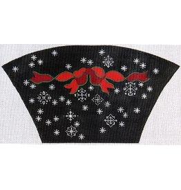Elizabeth Turner Fan Purse - Red Bow w/Black background <br />Front, Back &amp; Gusset