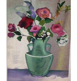 Julia Teal Vase w/Roses<br />12.5&quot; x 16.5&quot;