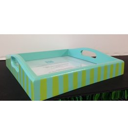 Kate Dickerson Custom hand painted tray - tourquoise w/lime stripes<br />10&quot; x 10&quot;