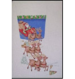 A Collection of Designs Santa, Sleigh & Reindeers Stocking