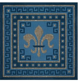 JP Needlepoint Fleur &amp; Green Key on Blue<br />