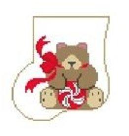 Kathy Schenkel Teddy Bear w/Candy Sock<br />3.75&quot; x 4&quot;