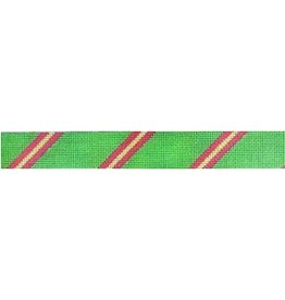 Meredith Diagonal Stripe Belt (3-2-3) Grassy Green/Dark Pink/Lime
