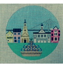 Painted Pony Charleston cityscape ornament<br />4&quot; Round
