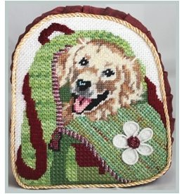 Julie Mar Golden Retrievew in Back Pack<br />