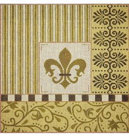 JP Needlepoint Fleur with Green Borders<br />14x14&quot;