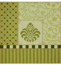 JP Needlepoint Medallion with Green Borders<br />14x14&quot;