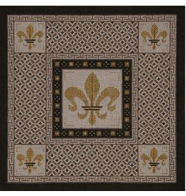 JP Needlepoint Fleur w/Taupe &amp; Brown Borders<br />