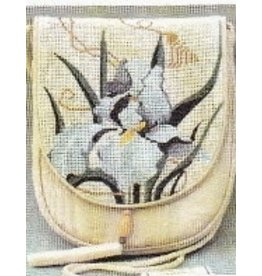 Sophia Designs Small white purse with orchid stitched front