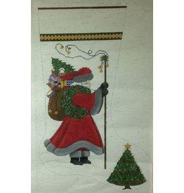 NM Arts Santa holding wreath w/toy bag on back - evergreen tree at stocking toe