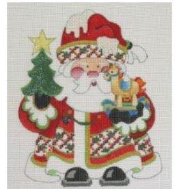 Strictly Christmas Santa holding tree & rocking horse