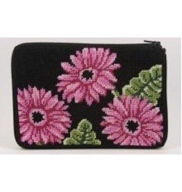 Alice Peterson Pink Gerber Daisies cosmetic bag