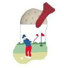 Kathy Schenkel Golfer w/Golf Ball Mini Sock<br />ornament