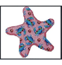 Associated Talent Starfish ornament w/blue crabs - pink background<br />4.5&quot; x 4.75&quot;
