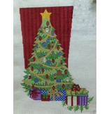 Alexa Christmas Tree Stocking w/ red stripe wall in background