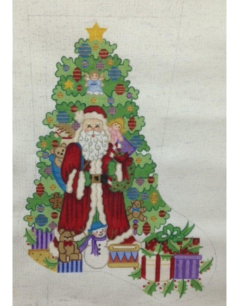 Alexa Santa in front of tree stocking