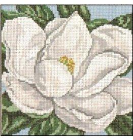 Needle Crossing White Magnolia<br />7&quot; x 7&quot;