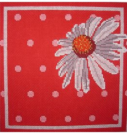 Point of it All White Daisy on Red/Pink Background<br />