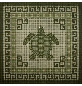 JP Needlepoint Sea Turtle w/green borders<br />