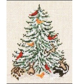 Needle Crossing Christmas Tree w/cardinals and other animals<br />
