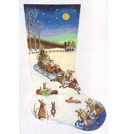 Julie Mar Santa in sleigh w/reindeers and rabbits stocking