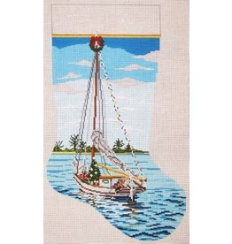 Needle Crossing Christmas sailboat stocking