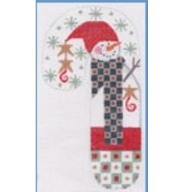 "Danji Snowman Checkered Candy Cane ornament 3"" x 6.5"""