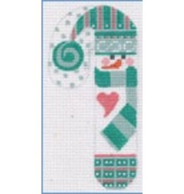 DJ Designs w/Scarf Snowman Candy Cane ornament<br />