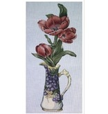 All About Stitching Red Tulips In Grape Vase<br />12&quot; x 22&quot;
