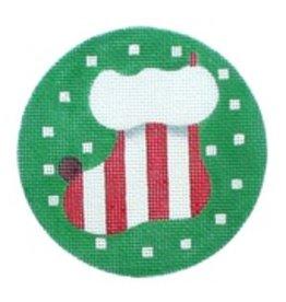 Melissa Shirley Sock ornament<br />4&quot; diameter