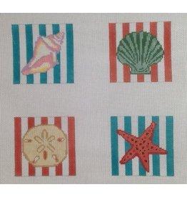 Elizabeth Turner Seashell coasters (4)<br />4&quot; x 4&quot;