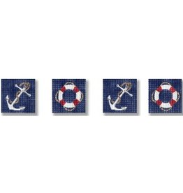 CBK Needlepoint Anchor &amp; Life Rings Coasters<br />