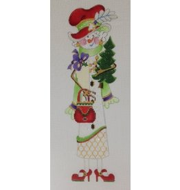 Strictly Christmas Snowlady in Red Shoes, Hat Red &amp;  Purse holding tree<br />