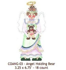 Strictly Christmas Angel w/teddy bear<br />3.25x6.75&quot;