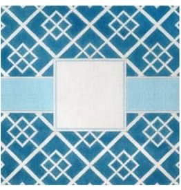 Elizabeth Turner Blue Geometric Squares ~ Monogram center<br />