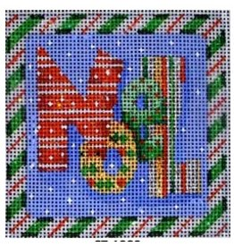 Associated Talent Noel Square Green Candy Cane Border <br />