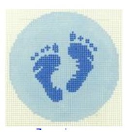 "Colonial Needle Baby boy feet 3"" round"