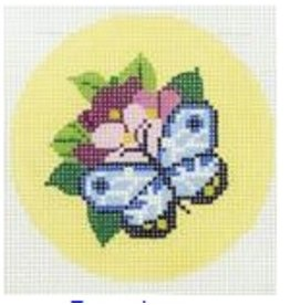 "Colonial Needle Blue butterfly 3"" round"
