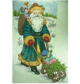 Gayla Eliott Designs Santa with wheelbarrel stocking<br />