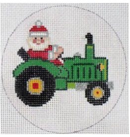 Elizabeth Turner Santa on Tractor - ornament<br />5&quot; round