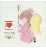 All About Stitching Little Girl Angel Tooth Fairy  <br />8&quot; x 8&quot;