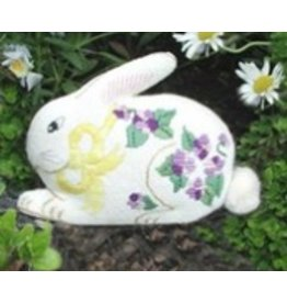 All About Stitching Bunny w/Violets<br />(front &amp; back)<br />6&quot; x 4&quot; each