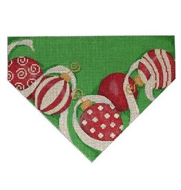 Associated Talent Red & White Ornaments/ Green Background Stocking Cuff